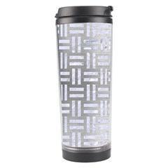 Woven1 White Marble & Silver Brushed Metal Travel Tumbler by trendistuff