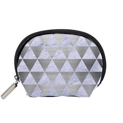 Triangle3 White Marble & Silver Brushed Metal Accessory Pouches (small)  by trendistuff