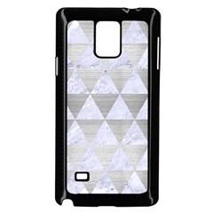 Triangle3 White Marble & Silver Brushed Metal Samsung Galaxy Note 4 Case (black) by trendistuff