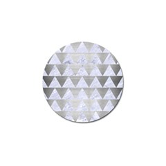 Triangle2 White Marble & Silver Brushed Metal Golf Ball Marker