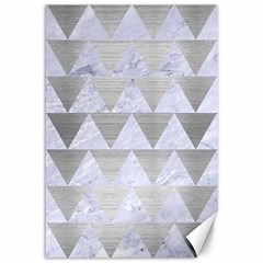 Triangle2 White Marble & Silver Brushed Metal Canvas 12  X 18   by trendistuff