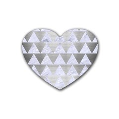 Triangle2 White Marble & Silver Brushed Metal Rubber Coaster (heart)  by trendistuff