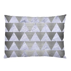 Triangle2 White Marble & Silver Brushed Metal Pillow Case by trendistuff