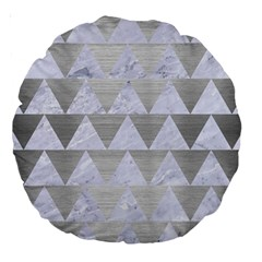 Triangle2 White Marble & Silver Brushed Metal Large 18  Premium Round Cushions by trendistuff