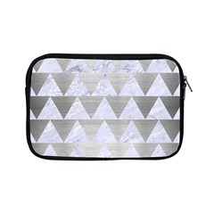 Triangle2 White Marble & Silver Brushed Metal Apple Ipad Mini Zipper Cases by trendistuff