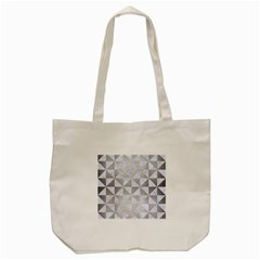 Triangle1 White Marble & Silver Brushed Metal Tote Bag (cream) by trendistuff