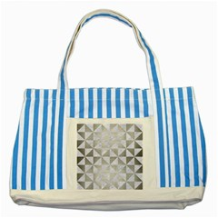 Triangle1 White Marble & Silver Brushed Metal Striped Blue Tote Bag by trendistuff