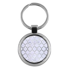 Tile1 White Marble & Silver Brushed Metal (r) Key Chains (round)  by trendistuff