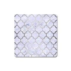 Tile1 White Marble & Silver Brushed Metal (r) Square Magnet