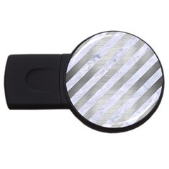 Stripes3 White Marble & Silver Brushed Metal (r) Usb Flash Drive Round (2 Gb) by trendistuff