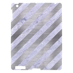 Stripes3 White Marble & Silver Brushed Metal (r) Apple Ipad 3/4 Hardshell Case by trendistuff