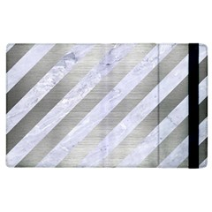 Stripes3 White Marble & Silver Brushed Metal (r) Apple Ipad 2 Flip Case by trendistuff