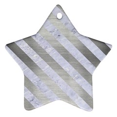 Stripes3 White Marble & Silver Brushed Metal Ornament (star) by trendistuff