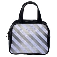 Stripes3 White Marble & Silver Brushed Metal Classic Handbags (one Side)