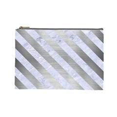 Stripes3 White Marble & Silver Brushed Metal Cosmetic Bag (large)  by trendistuff