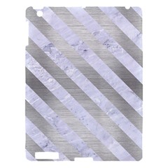 Stripes3 White Marble & Silver Brushed Metal Apple Ipad 3/4 Hardshell Case