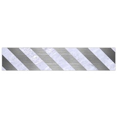 Stripes3 White Marble & Silver Brushed Metal Small Flano Scarf by trendistuff