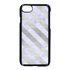 Stripes3 White Marble & Silver Brushed Metal Apple Iphone 8 Seamless Case (black) by trendistuff