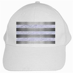Stripes2white Marble & Silver Brushed Metal White Cap by trendistuff