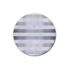 Stripes2white Marble & Silver Brushed Metal Rubber Round Coaster (4 Pack)