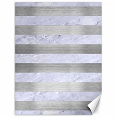 Stripes2white Marble & Silver Brushed Metal Canvas 18  X 24   by trendistuff