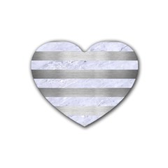 Stripes2white Marble & Silver Brushed Metal Rubber Coaster (heart)  by trendistuff