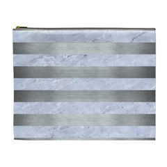 Stripes2white Marble & Silver Brushed Metal Cosmetic Bag (xl) by trendistuff