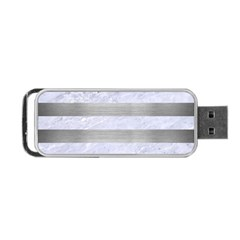 Stripes2white Marble & Silver Brushed Metal Portable Usb Flash (two Sides) by trendistuff
