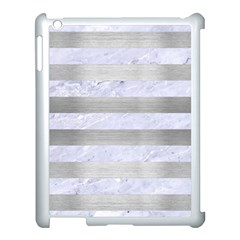 Stripes2white Marble & Silver Brushed Metal Apple Ipad 3/4 Case (white) by trendistuff