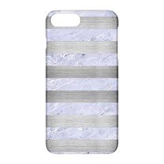 Stripes2white Marble & Silver Brushed Metal Apple Iphone 8 Plus Hardshell Case by trendistuff