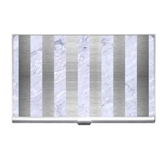 Stripes1 White Marble & Silver Brushed Metal Business Card Holders by trendistuff