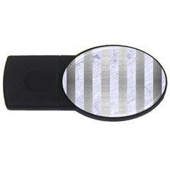Stripes1 White Marble & Silver Brushed Metal Usb Flash Drive Oval (2 Gb) by trendistuff