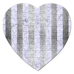 Stripes1 White Marble & Silver Brushed Metal Jigsaw Puzzle (heart) by trendistuff