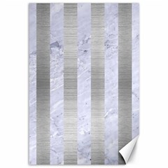 Stripes1 White Marble & Silver Brushed Metal Canvas 12  X 18   by trendistuff