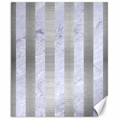 Stripes1 White Marble & Silver Brushed Metal Canvas 20  X 24   by trendistuff