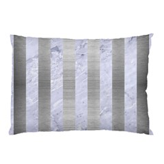 Stripes1 White Marble & Silver Brushed Metal Pillow Case by trendistuff