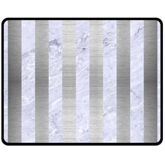 Stripes1 White Marble & Silver Brushed Metal Double Sided Fleece Blanket (medium)  by trendistuff