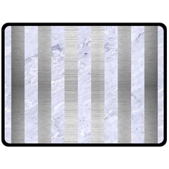 Stripes1 White Marble & Silver Brushed Metal Double Sided Fleece Blanket (large)  by trendistuff
