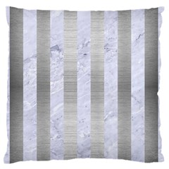 Stripes1 White Marble & Silver Brushed Metal Standard Flano Cushion Case (one Side) by trendistuff