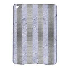 Stripes1 White Marble & Silver Brushed Metal Ipad Air 2 Hardshell Cases by trendistuff
