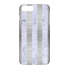 Stripes1 White Marble & Silver Brushed Metal Apple Iphone 8 Plus Hardshell Case by trendistuff