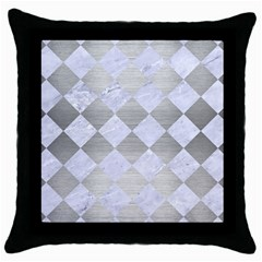Square2 White Marble & Silver Brushed Metal Throw Pillow Case (black) by trendistuff
