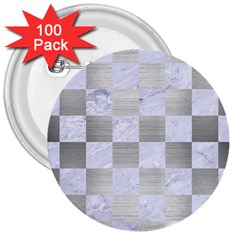 Square1 White Marble & Silver Brushed Metal 3  Buttons (100 Pack)  by trendistuff