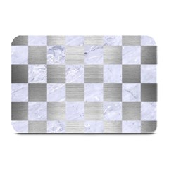 Square1 White Marble & Silver Brushed Metal Plate Mats