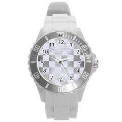 Square1 White Marble & Silver Brushed Metal Round Plastic Sport Watch (l) by trendistuff