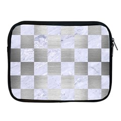 Square1 White Marble & Silver Brushed Metal Apple Ipad 2/3/4 Zipper Cases by trendistuff