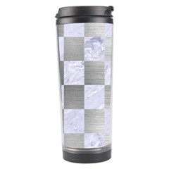 Square1 White Marble & Silver Brushed Metal Travel Tumbler by trendistuff