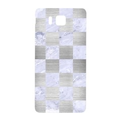 Square1 White Marble & Silver Brushed Metal Samsung Galaxy Alpha Hardshell Back Case by trendistuff