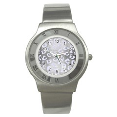 Skin5 White Marble & Silver Brushed Metal (r) Stainless Steel Watch by trendistuff