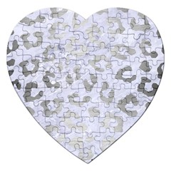 Skin5 White Marble & Silver Brushed Metal Jigsaw Puzzle (heart) by trendistuff